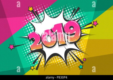 2019 happy new year christmas comic text speech bubble. Colored pop art style sound effect. Halftone vector illustration banner. Vintage comics book p - Stock Photo
