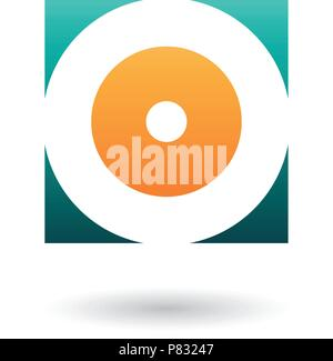 Vector Illustration of Green and Orange Square Icon of a Thick Letter O isolated on a White Background - Stock Photo