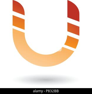 Vector Illustration of Orange Striped Bold Icon for Letter U isolated on a White Background - Stock Photo