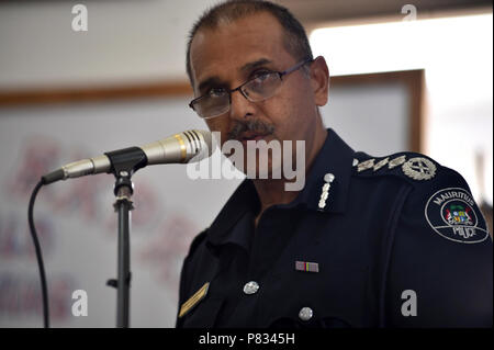 PORT LOUIS, Mauritius (Jan. 31, 2017) Krishna Jhugroo, Deputy Commissioner of Police, delivers remarks during the Cutlass Express 2017 opening ceremonies. Cutlass Express 2017, sponsored by U.S. Africa Command (AFRICOM), is designed to improve regional cooperation, maritime domain awareness (MDA) and information sharing practices to increase capabilities of East African and Western Indian Ocean nations to counter illicit maritime activity. - Stock Photo