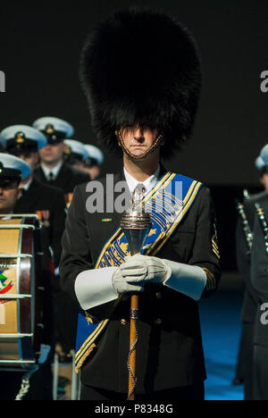 ARLINGTON, Va. (Feb. 6, 2017) Senior Chief Musician Mike Bayes, drum major of the United States Navy Ceremonial Band, prepares to lead the band at the arrival of the French Chief of Defense Staff, General Pierre de Villiers.  The Ceremonial Band has two roles in a high-level ceremony of this nature: display the pride and heritage of today's Navy and pay respect to France for its continued partnership. - Stock Photo