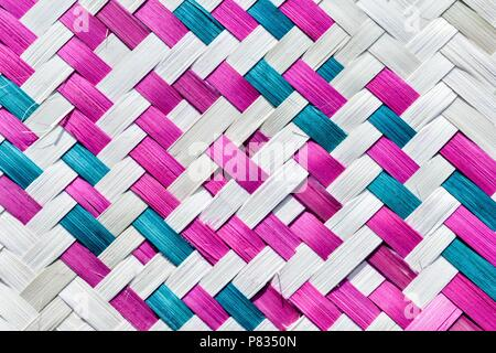 diagonally woven colourful bamboo stripes for background texture - Stock Photo