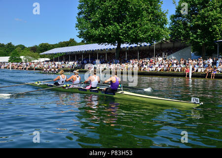 In the finals of the Town Challenge Cup at Henley Royal Regatta Molesey Boat Club lined up against the GB squad boat comprising University of London and Leander Club.  It was a tough race for Molesey who found themselves down from the start and were against a crew who broke both the Barrier and Fawley records by two seconds each. Credit Wendy Johnson/Alamy Live News - Stock Photo