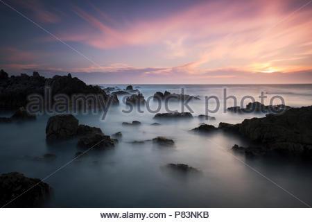 Pacific Grove Marine Gardens Park at Sunset, California - Stock Photo