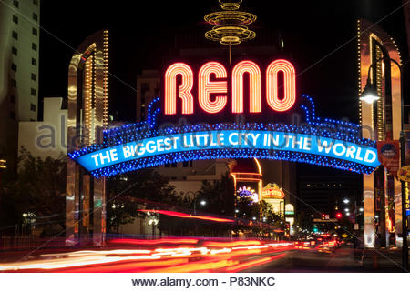 The Biggest Little City In The World, Reno, Nevada - Stock Photo