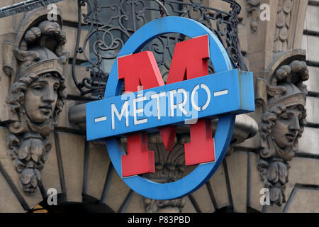 Contemporary Metro sign in front of old wall, Paris, France, Europe - Stock Photo