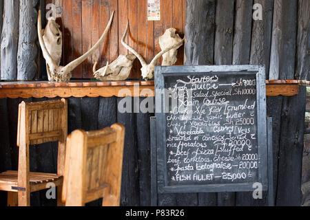 Restaurant Menu, Lake Mburo National Park Uganda, East Africa - Stock Photo