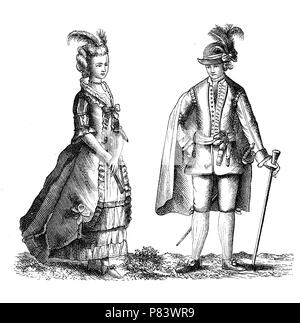 Vintage illustration, Sweden  man and woman national traditional costumes in 1778 - Stock Photo