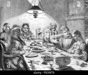 Vintage caricatures,  evening meal, family and friends around the table for dinner, plenty of food and wine - Stock Photo