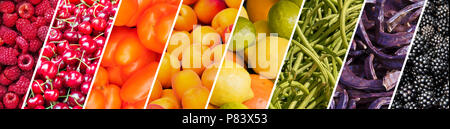 Fresh fruits and vegetables rainbow panoramic collage, healthy eating concept - Stock Photo