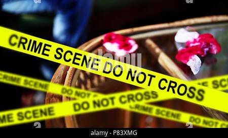 crime scene investigation,yellow crime scene tape, - Stock Photo