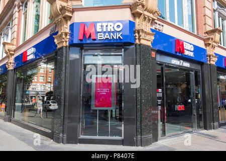 Metro Bank, Tottenham Court Road branch, London, UK - Stock Photo