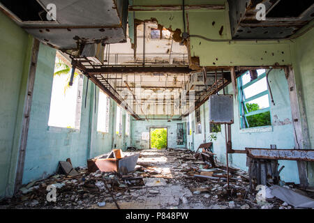 Abandoned building on Kanton Island, Kiribati from the United States in World War 2. - Stock Photo