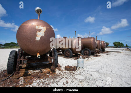 Abandoned buildings and machinery on Kanton Island, Kiribati from the United States in World War 2. - Stock Photo