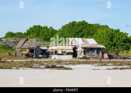 Tebaronga settlement on Kanton Island, Phoenix Islands, Kiribati - Stock Photo