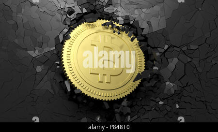Cryptocurrency breakthrough concept. Bitcoin breaking with great force through a black wall. 3d illustration - Stock Photo