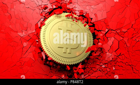 Cryptocurrency breakthrough concept. Bitcoin breaking with great force through a red wall. 3d illustration - Stock Photo