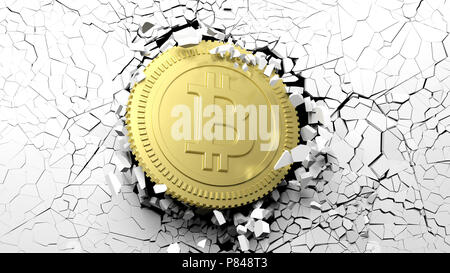 Cryptocurrency breakthrough concept. Bitcoin breaking with great force through a white wall. 3d illustration - Stock Photo