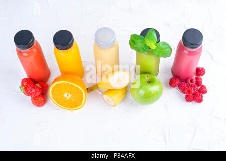 Organic cold-pressed raw vegetable juices in glass bottles. Vitamin and healthy food. Copy space. - Stock Photo