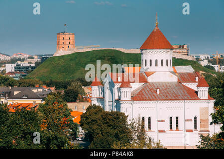 Vilnius, Lithuania. Cathedral Of Theotokos And Tower Of Gediminas Or Gedimino In Vilnius Old Town. Unesco World Heritage Site. - Stock Photo