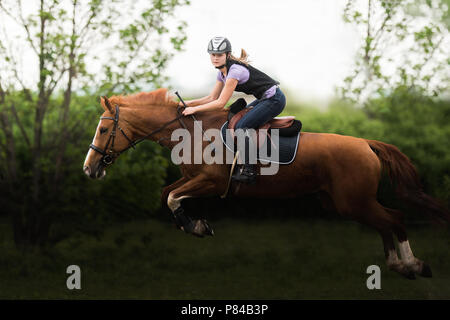 Young pretty girl riding a horse -  jumping over hurdle with in spring time - Stock Photo