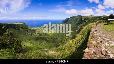 Panoramic view from Miradouro Craveira Lopes  on Flores island, Azores archipelago  (Portugal, Europe) - Stock Photo