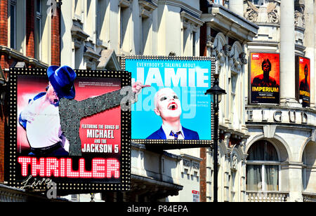 Shaftesbury Avenue theatres, London, England, UK. Thriller, Everybody's Talking about Jamie, Imperium. (July 2018) - Stock Photo