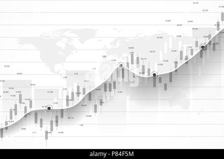 Stock market and exchange. Business Candle stick graph chart of stock market investment trading. Stock market data. Bullish point, Trend of graph. Vector illustration. - Stock Photo