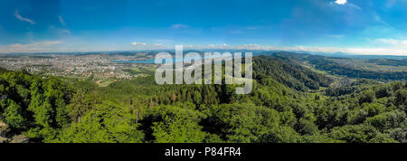 Panoramic view of Zurich lake and Alps from the top of Uetliberg mountain, from the observation platform on tower on Mt. Uetliberg, Switzerland, Europ - Stock Photo