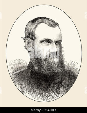 General Sir Samuel James Browne, 1824-1901, British Indian Army cavalry officer in India and Afghanistan, From British Battles on Land and Sea, by Jam - Stock Photo