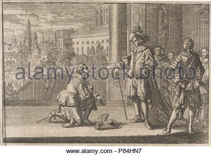 Charles IV, Duke of Lorraine kneels for Louis XIII, 1641, Johann David Zunnern, 1701. - Stock Photo