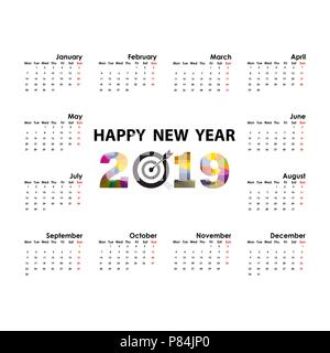 banner or invitation 2019 calendar templatestarts mondayyearly calendar vector design stationery templatevector illustration