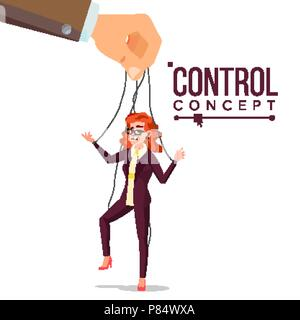 Manipulation Business Woman Vector. Puppet Office Worker. Person On Ropes. Unfairly Using. Big Hand. Cartoon Illustration - Stock Photo