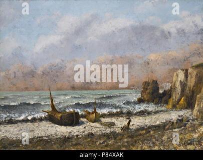Courbet  Gustave - Deux Bateaux Sur La Plage - Stock Photo