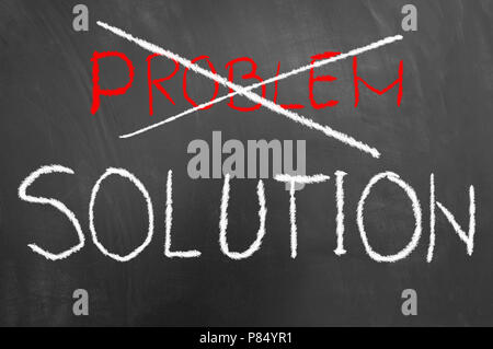Solution and crossed problem chalk writing text on blackboard or chalkboard as business success strategy answer concept - Stock Photo