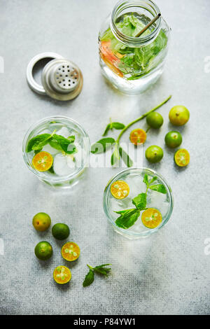 Gin and tonik cocktail with green calamondin and fresh mint leaf. Vertical top view. - Stock Photo