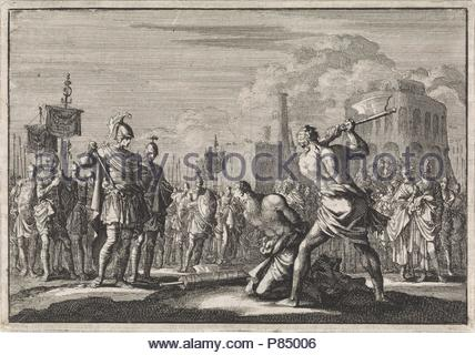 The beheading of Antigonus ordered by Anthony, Jan Luyken, Pieter Mortier, 1704. - Stock Photo
