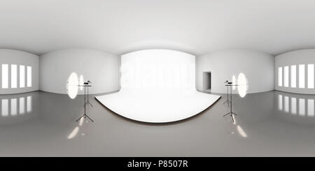 HDRI environment map, abstract spherical panorama background with photo studio setup (3d equirectangular render) - Stock Photo