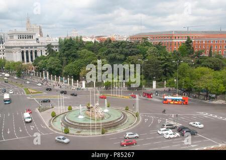 Plaza de la Cibeles, view from above. Madrid, Spain. - Stock Photo