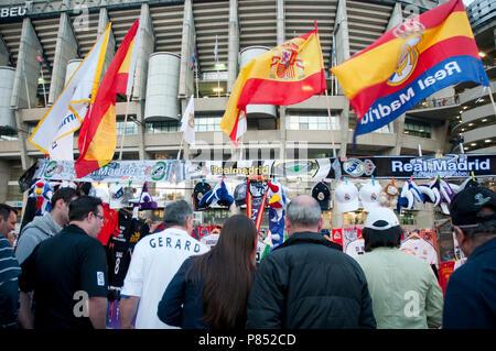 Atmosphere before the Real Madrid-Barcelona football match. Santiago Bernabeu stadium, Madrid, Spain. - Stock Photo