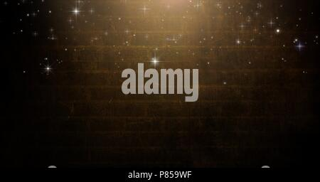 Stars falling over Vignette and light on brown brick wall background - Stock Photo