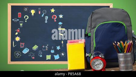 Education drawing on blackboard for school with school bag - Stock Photo