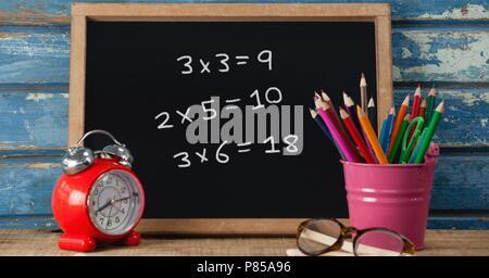 Math education drawings on blackboard for school - Stock Photo