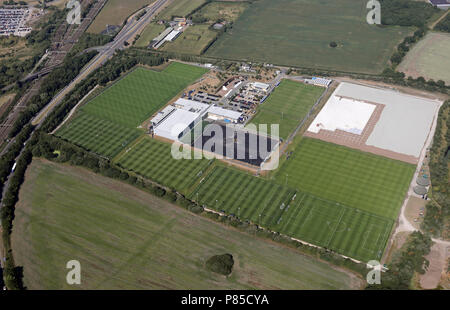 aerial view of Everton FC Training Academy near Halewood, Liverpool - Stock Photo