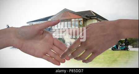 Composite image of close-up of hand - Stock Photo