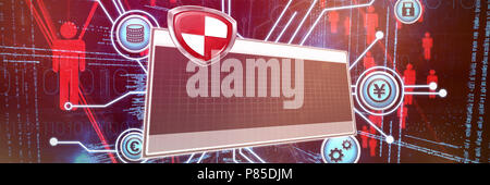 Composite image of digial logo against grey background - Stock Photo