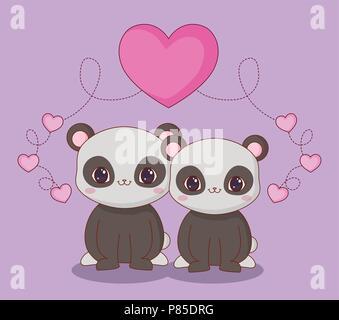 Kawaii panda bears in love over purple background, colorful design. vector illustration - Stock Photo