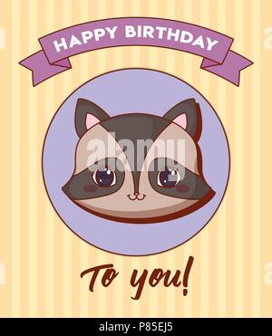 Happy birthday design with cute raccoon  icon and decorative ribbon over yellow background, colorful design. vector illustration - Stock Photo