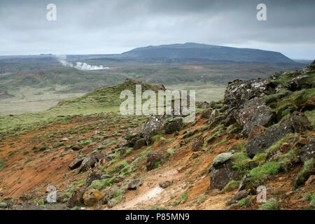 Vulkanisch actief gebied bij Krysuvik; Geothermal area at Krysuvik - Stock Photo