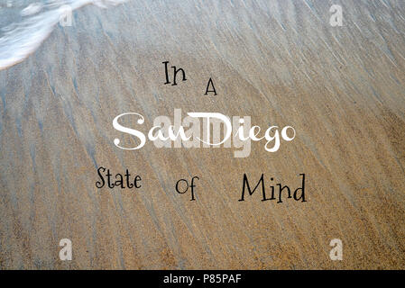 Phrase placed on a photograph background of a California beach. Travel and coastal concept. - Stock Photo